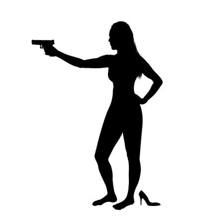 Girl shooting, female isolated silhouette. Beautiful woman spy in shootout. Heroine stands and aims, film action style.