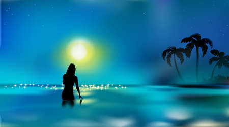 Beautiful seascape, female silhouette. Girl touching water surface. Woman standing in sea or ocean, dark night. Vacation in full moon, nightlife tropical bathing. Vectores