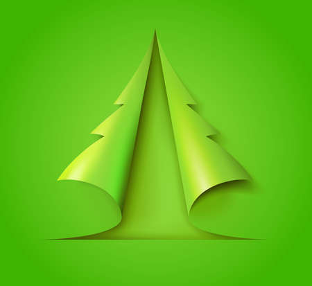 Christmas tree cut out of green paper. Design for holiday cards. Modern abstract xmas. Glossy element vector illustration eps10. Foto de archivo - 157302014