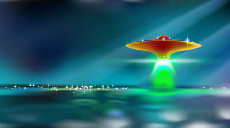 Aliens futuristic orange spaceship hovers over surface water. Ufo with lights went to take off. Invasion concept. Moonlight dark night in blue toned with artistic shadows. Vector illustration. Eps 10. Vectores