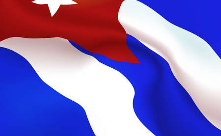 Background Republic Of Cuba Flag in folds.  red banner. Pennant  star, concept, up close. Realistic soft shadows. Vector illustration .