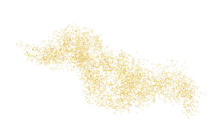 Horizontal wavy strip sprinkled with crumbs golden texture. Background Gold dust on a white background. Sand particles grain or sand. Vector backdrop golden path pieces grunge for design illustration. Ilustrace