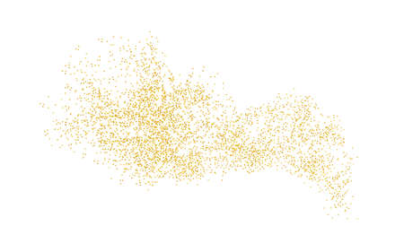 Background plume golden texture crumbs. Gold dust scattering on a white background. Sand particles grain or sand assembled. Vector backdrop dune, pieces abstraction. Illustration grunge for design. Ilustrace