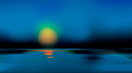 Abstract blurred dark background with beginning of sunrise or sundown. Blue tone backdrop. Water surface in nature and bokeh art. Vector illustration Eps 10. 免版税图像 - 157714331