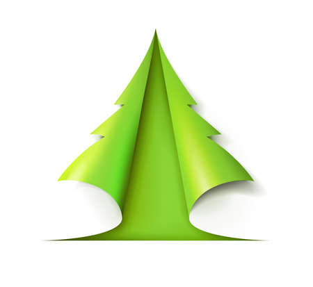 Green Christmas tree cut out of white paper. Design for holiday cards. Modern abstract xmas. Glossy element vector illustration eps10.