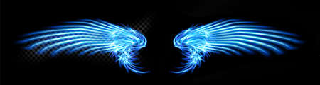 Abstract neon glowing blue angel wings. Isolated, strewn with sparks on dark, black background. Happy Valentines day, attributes. Vector illustration Eps 10. Vectores