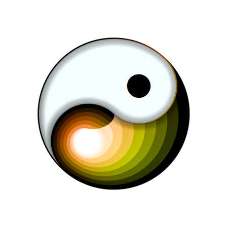 Yin and yang button icon isolated on white background. Spiritual relaxation of modern metallic cosmic for yoga meditation. For design and decoration, ui or app. Vector illustration