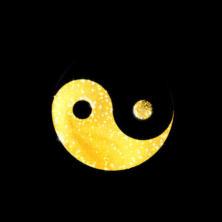 Art Golden texture crumbs yin and yang shaped, icon. Spiritual relaxation yoga or meditation. Gold sparkle, glitter isolated on black. Dust scattering, particles sand. Vector illustration