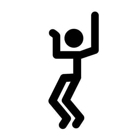 Stick man, dynamic position icon. Figures, standing posture symbol, sign. Pictogram isolated on white background. Abstract person posing for presentation. Vector illustration Eps 10.
