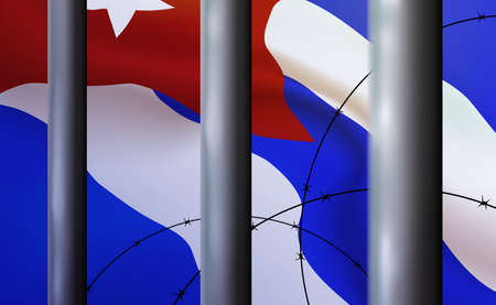 Background prison, jail in Republic Of Cuba. Oppressive, repressive penal system of detention, imprisonment behind metal bars. Cell, flag in folds. Banner detention center. Vector illustration