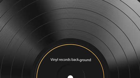 Vinyl record texture background. Realistic black blank backdrop. Dark label. Highly detailed. Vector illustration Eps 10.