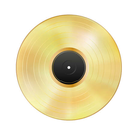 Realistic gold vinyl record isolated on white background. Gramophone LP, blank black label. Mockup disc. Highly detailed. Golden musical album. Vintage art old technology. Vector illustration Eps 10.
