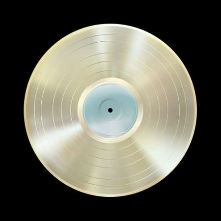 Platinum vinyl record, realistic award disc isolated on black background. Gramophone LP mockup disk, blank label. Highly detailed. Musical album. Vintage art old technology. Vector illustration Eps 10