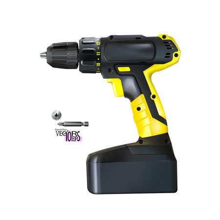 Yellow black realistic cordless drill professional tool isolated on white background. Construction and metalworking. Vector illustration Eps 10 Vectores