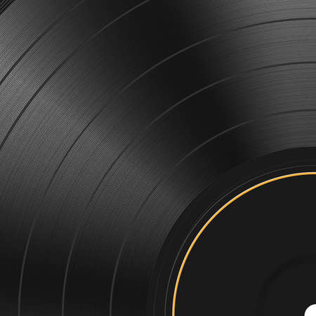 Vinyl record texture background. Realistic black blank backdrop. Dark label. Highly detailed. Vector illustration Vectores