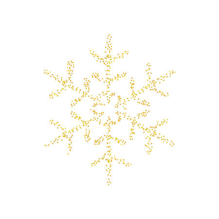Sprinkled crumbs golden texture as snowflake icon isolated on white background. Gold Composition for New year and Xmas. Backdrop sand particles, grain or pieces. Vector illustration