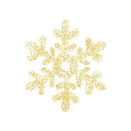 Sprinkled crumbs golden texture as snowflake icon isolated on white background. Gold Composition for New year and Xmas. Backdrop sand particles, grain or pieces. Vector illustration Ilustracje wektorowe