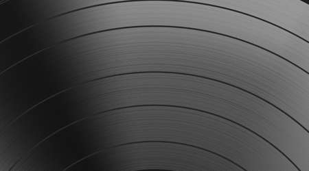 Track vinyl disc texture background. Classic vinyl record realistic black backdrop. Dark. Highly detailed. Vector illustration