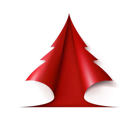 Red Christmas tree cut out of white paper. Design for holiday cards. Modern abstract xmas. Glossy element vector illustration eps10.