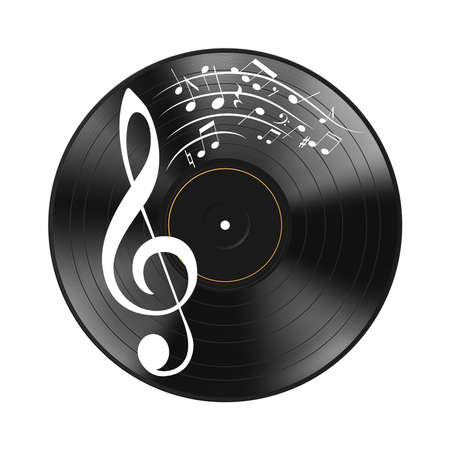 Realistic black vinyl record and notes, musical composition isolated on white background. Highly detailed. Design music decorative object. Sound vector illustration Eps 10.