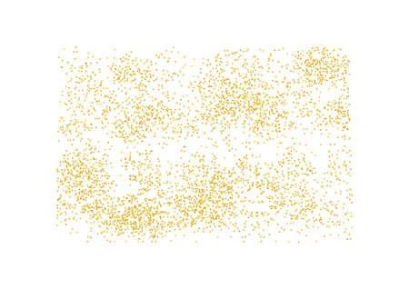 Rectangular backdrop Golden texture crumbs. Gold dust scattering on a white background. Particles grain, sand assembled. Vector shards, pieces abstraction. Illustration grunge textures design. Eps 10