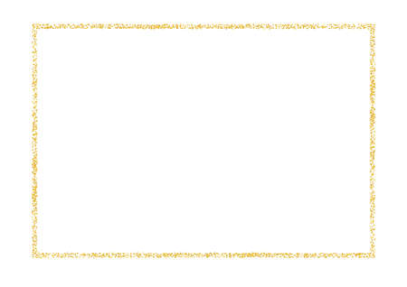 Vintage frame from plume gold crumbs. Golden dust texture scattering isolated on white. Rectangular border sand particles, grain. Empty copy space for decoration, photo. Vector illustration