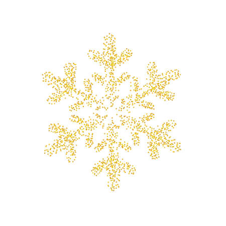 Crumbs golden sprinkled texture as snowflake icon isolated on white background with. Gold Composition for New year and Xmas. Backdrop sand particles, grain or pieces. Vector illustration Eps10.