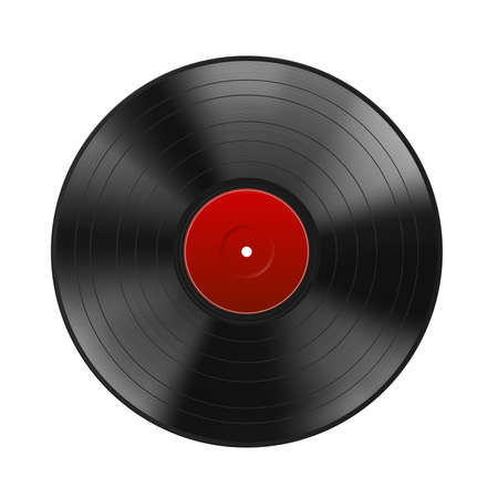 Realistic black vinyl record with red label isolated on white background. Blank mock up. Highly detailed. Vector illustration Vettoriali