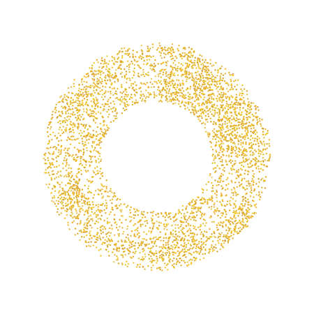 Ring backdrop Golden texture crumbs. Gold dust scattering on a white background. Particles grain or sand assembled. Vector shards, pieces. Illustration grunge textures for design. Eps 10
