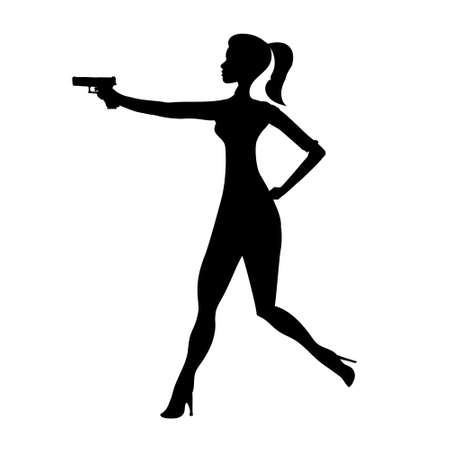 Firing girl abstract silhouette, running female isolated silhouette. Beautiful woman spy in shootout. Heroine aims, film action cartoon style.