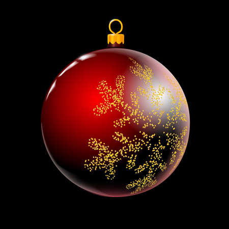 Red Christmas ball, bauble, Xmas glass colorful decoration isolated on black background. 3D. Vector illustration Eps 10. Foto de archivo - 158569562