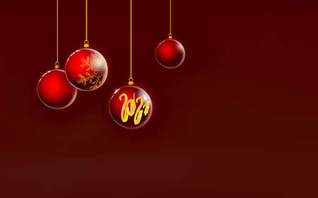 Red Christmas balls background, dark crimson Xmas glass colorful decoration. Art 3D. Happy New 2021 Year Holiday. Numbers with golden sparkle.