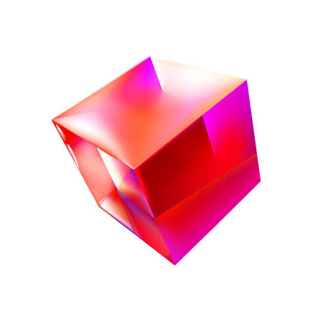 Glass or polymer resin mockup of blank glossy pink cube or box 3d. Icon abstract symbol. Template vector illustration for design and branding. Eps 10.