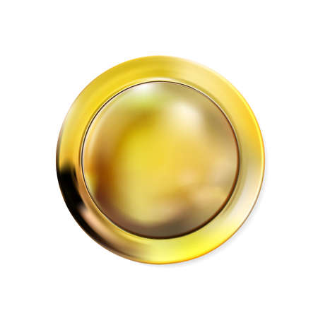 Realistic round gold button isolated on white background. Metal golden circle Ui component. Vector illustration Foto de archivo - 158799630