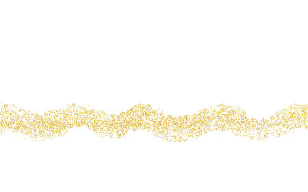 Wavy strip sprinkled with crumbs golden texture. Horizontal background Gold dust on a white background. Sand particles grain or sand. Vector backdrop golden path pieces grunge for design illustration. Ilustrace