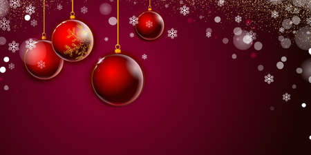 Christmas or New years background with red glass balls and snowflakes. Dark crimson Xmas bokeh backdrop. Art 3D. Happy holiday. Vector illustration Eps 10.