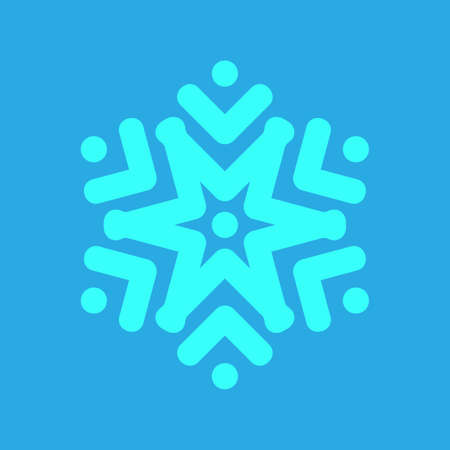 Blue Snowflake icon isolated on blue background. Winter sign, christmas theme. Flat shaped. Symbol snow holiday, cold weather, frost. Winter design element. Vector illustration Ilustrace