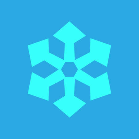 Blue Snowflake icon isolated on blue background. Winter sign, christmas theme. Flat shaped. Symbol snow holiday, cold weather, frost. Winter design element. Vector illustration Eps 10.