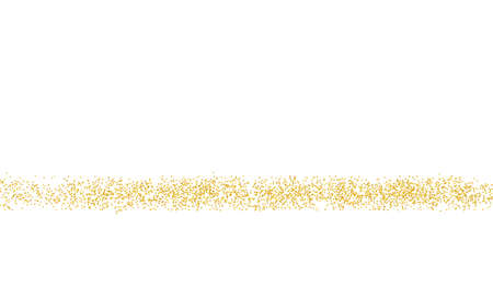 Golden Horizontal strip, crumbs sprinkled texture. Backdrop gold dust on a white background. Sand particles grain or sand. Pieces, grunge design. Vector illustration Eps 10. Foto de archivo - 158932750
