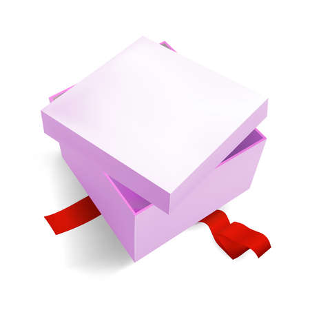 Pink Gift Box 3D, isometric realistic colorful with red Ribbon for Birthday Celebration, Christmas, Party, Holiday. Object isolated on white background. Vector Illustration Eps 10. Vecteurs
