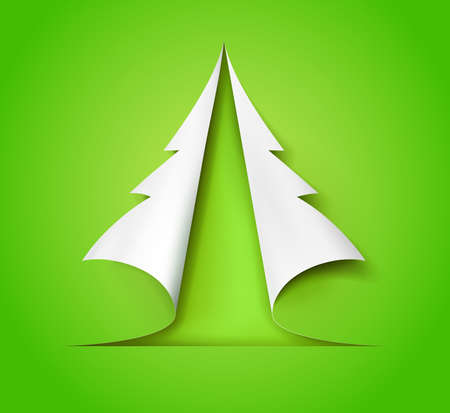 Christmas tree cut out of green and white paper. Design for holiday cards. Modern abstract xmas. Glossy element vector illustration eps10.