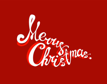 Merry Christmas lettering. Text calligraphic creative typography to holiday, greeting, gift, poster, Design card template. Font for title, header. Vector illustration Eps 10. Foto de archivo - 158992041
