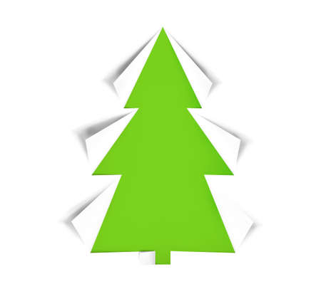 Christmas tree cut out of green and white paper, realistic icon isolated on white background. Design for holiday cards. Modern abstract decor art on xmas. Glossy element, vector illustration Eps10. Foto de archivo - 159092274