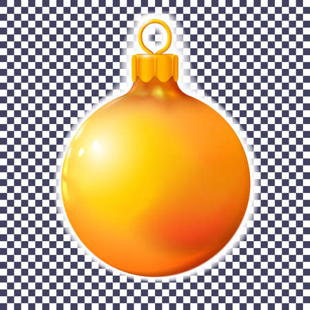 Orange Christmas ball, bauble isolated on white, 3d. Realistic Merry xmas and New year design element, colorful decoration. Vector illustration Eps 10. Ilustrace