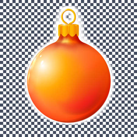 Red orange Christmas ball, bauble isolated on white, 3d. Realistic Merry xmas and New year design element, colorful decoration. Vector illustration Eps 10.