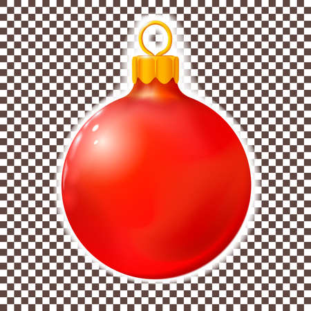 Red Christmas ball, bauble isolated on white. 3d realistic Merry xmas and New year design element, colorful decoration. Vector illustration Eps 10. Ilustrace