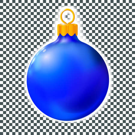Blue Christmas ball, bauble isolated on white, 3d. Realistic Merry xmas and New year design element, colorful decoration. Vector illustration Foto de archivo - 159219859