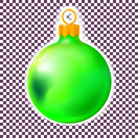Green Christmas ball, bauble isolated on white, 3d. Realistic Merry xmas and New year design element, colorful decoration. Vector illustration Eps 10. Ilustrace