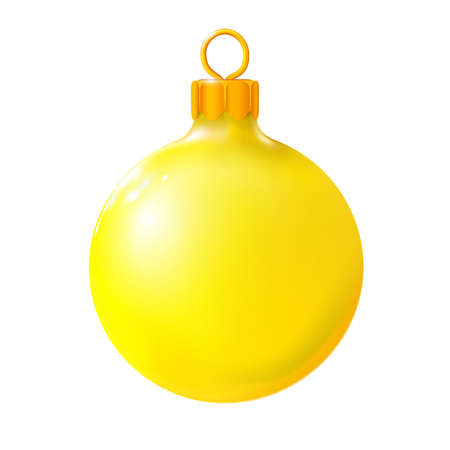 Yellow Christmas ball, bauble isolated on white, 3d. Realistic Merry xmas and New year design element, colorful decoration. Vector illustration Eps 10. Foto de archivo - 159084046