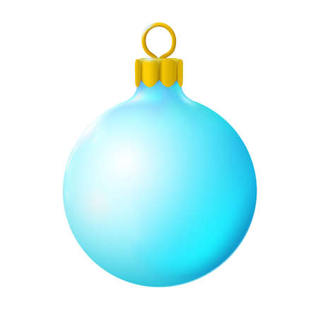 Light blue or cyan christmas ball, bauble isolated on white background, 3d. Realistic Merry xmas and New year design element, colorful decoration. Vector illustration Eps 10. Foto de archivo - 159160138